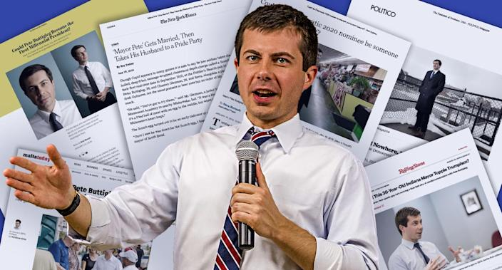 South Bend, Ind., Mayor Pete Buttigieg. (Yahoo News photo illustration; photos: Robert Franklin/South Bend Tribune via AP; Malta Today; Washington Post; New York Times; Chicago Tribune; Politico; Rolling Stone)