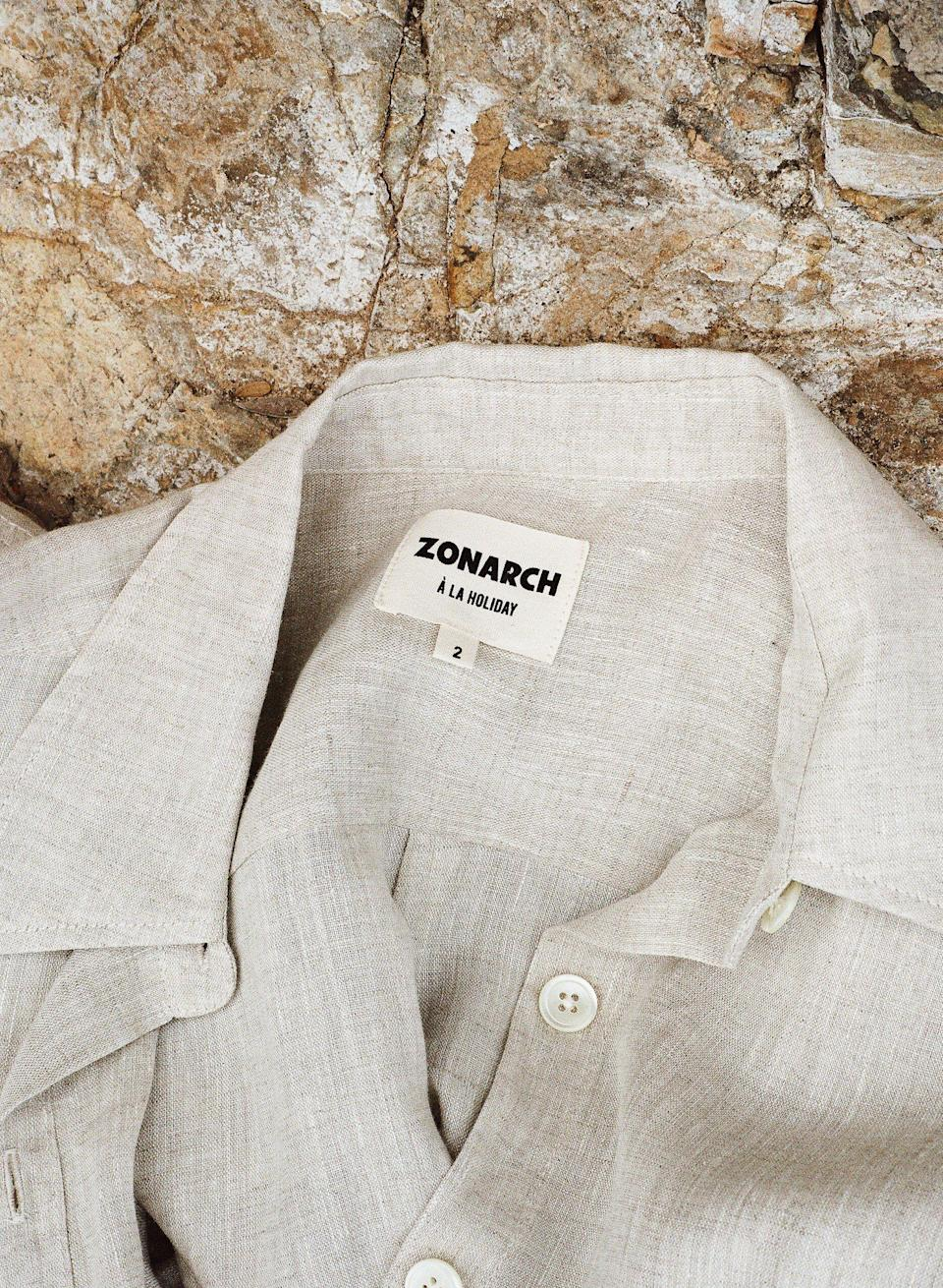 """<p>zonarch.com</p><p><strong>$130.00</strong></p><p><a href=""""https://zonarch.com/products/linen-shirt?variant=39511286579259"""" rel=""""nofollow noopener"""" target=""""_blank"""" data-ylk=""""slk:Shop Now"""" class=""""link rapid-noclick-resp"""">Shop Now</a></p><p>""""Zonarch's linen shirt is the essential piece for the end of summer. The design is oversized and vintage inspired, with a little embroidered sun detail on the back to make it feel personal. On top of that, Zonarch produces their apparel in California with recycled, sustainable materials and donates 3% of all revenue to organizations that work to fight for human rights, education, and climate protection. This grab and go shirt will look easy breezy over a bathing suit, or unbuttoned with a tank top and pair of wide leg jeans.""""—<em>Sarah Adams, Freelance Fashion Assistant</em></p>"""