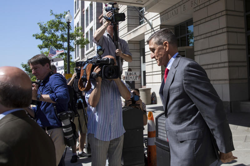 Michael Flynn, President Donald Trump's former national security adviser, leaves a sentencing hearing in Washington, July 10, 2018. (Samuel Corum/The New York Times)