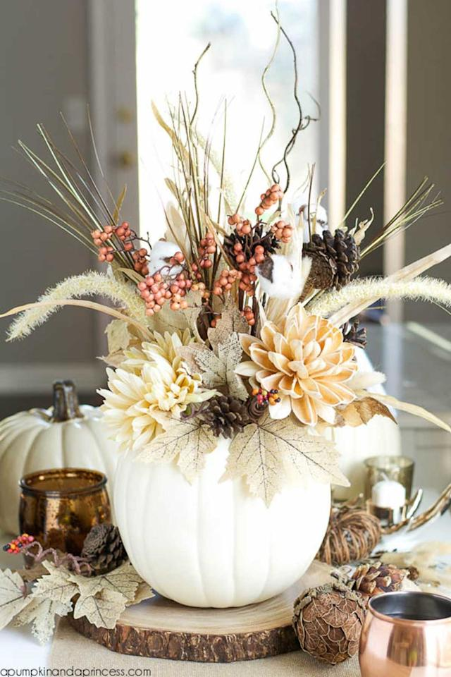 """<p><span>Fill a faux white pumpkin with autumn-themed stems to recreate this pretty arrangement.<span></span></span></p><p><strong>Get the tutorial at </strong><strong><a rel=""""nofollow"""" href=""""http://apumpkinandaprincess.com/2015/09/diy-pumpkin-vase.html"""">A Pumpkin & A Princess</a></strong><span><strong><a rel=""""nofollow"""" href=""""http://apumpkinandaprincess.com/2015/09/diy-pumpkin-vase.html""""></a>. </strong></span><br></p><p><span><strong>What you'll need: </strong><span><em>Faux white pumpkins ($15; <a rel=""""nofollow"""" href=""""https://www.amazon.com/Factory-Direct-Craft-Collection-Assorted/dp/B01N6R7H1E?tag=syndication-20"""">amazon.com</a>); Fall stems ($16; <a rel=""""nofollow"""" href=""""https://www.amazon.com/Factory-Direct-Craft-Artificial-Arrangements/dp/B01N35CF7Y?tag=syndication-20"""">amazon.com</a>)</em></span></span></p><p><span></span></p>"""