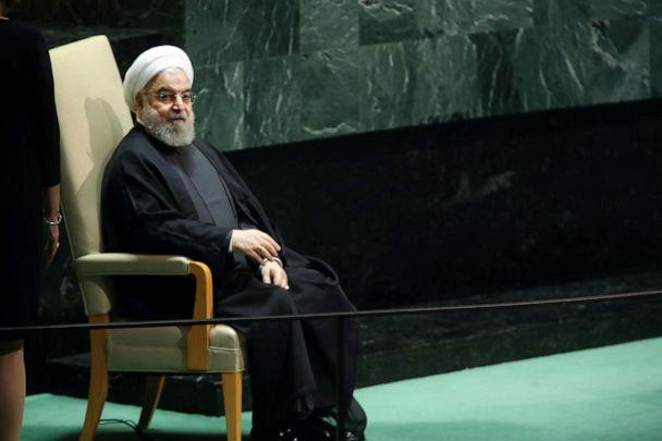 PHOTO: Iranian President Hassan Rouhani sits after speaking at the 74th United Nations General Assembly on Sept. 25, 2019, in New York City. (Spencer Platt/Getty Images)
