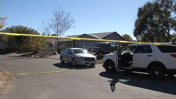 PHOTO: Crime scene tape blocks off a road in front of residential homes where law enforcement members in Lake County, Calif., were investigating the fatal shootings. (KGO)