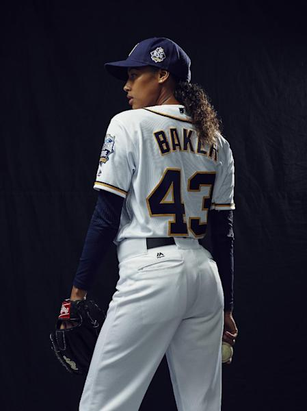 "In this photo provided by FOX, actress Kylie Bunbury is shown in the all-new ""Pilot"" series premiere episode of ""Pitch"" airing Thursday, Sept. 22, 2016. Remarkably, the lead actress and lead writer of ""Pitch"" have been asked by strangers whether the Fox TV series about the first woman in the major leagues is based on a true story. (Tommy Garcia/Fox via AP)"