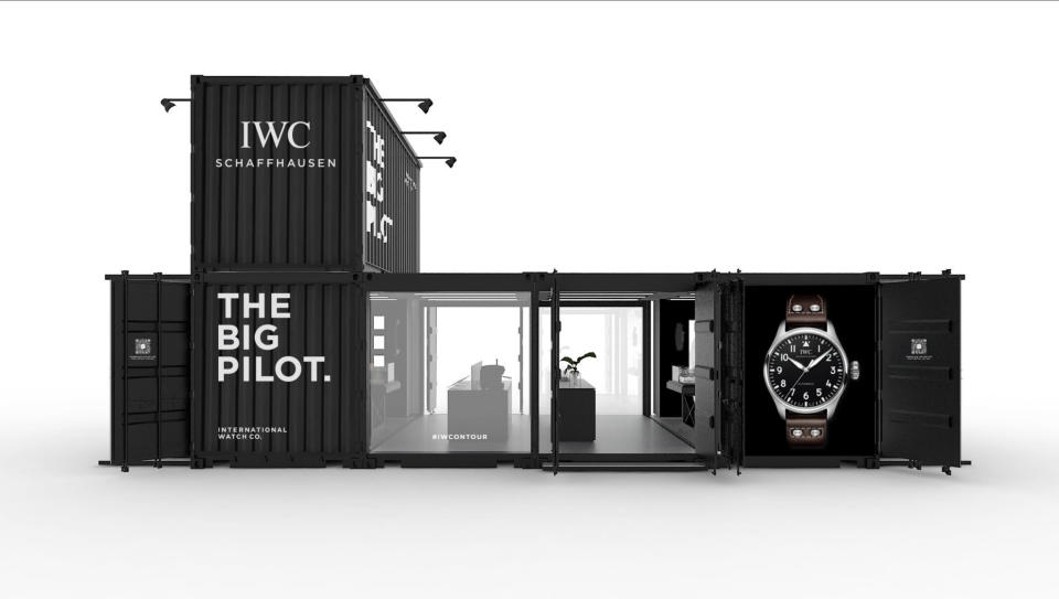The industrial style exterior of the traveling exhibition. - Credit: IWC Schaffhausen