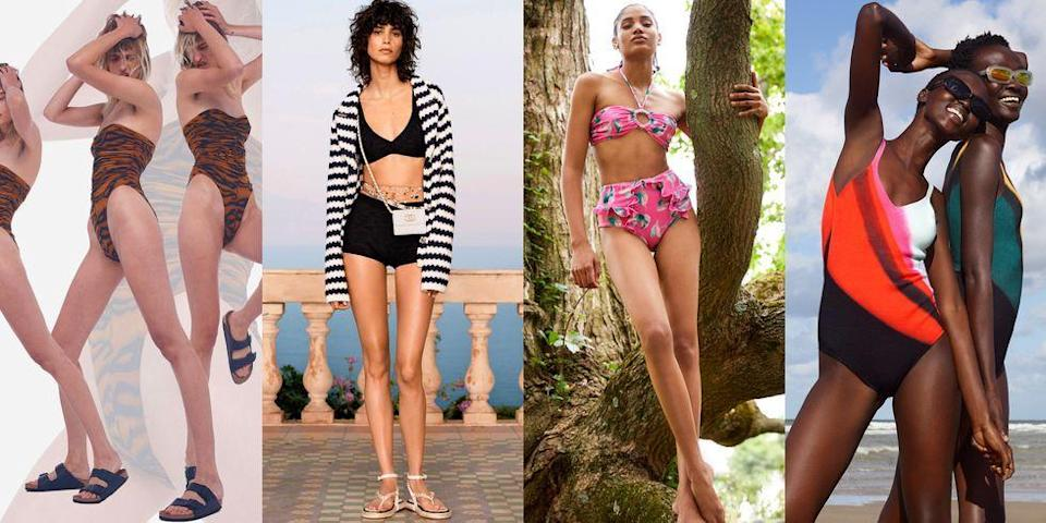 """<p>The summer might be a distant memory now, but settings our sights on the season ahead is what we do best—and that means getting a jump on the <a href=""""https://www.marieclaire.com/fashion/g34142929/spring-fashion-trends-2021/"""" rel=""""nofollow noopener"""" target=""""_blank"""" data-ylk=""""slk:spring/summer 2021 trends."""" class=""""link rapid-noclick-resp"""">spring/summer 2021 trends.</a> Last summer looked a little different than expected, but finding new ways to stay cute and cool in your yard or atop your roof likely came down to a few things: grabbing a swimsuit, some <a href=""""https://www.marieclaire.com/fashion/advice/g1757/best-sunglasses/"""" rel=""""nofollow noopener"""" target=""""_blank"""" data-ylk=""""slk:shades"""" class=""""link rapid-noclick-resp"""">shades</a>, and a can-do attitude. While we hope that 2021 redeems itself with a summer filled with beach trips and poolside BBQs, we know that fantasizing about what kind of swimsuits we'll be summering in is <em>basically</em> half the fun. Ahead, we've got the swim trends you'll be eager to weave into your swimwear arsenal.</p>"""