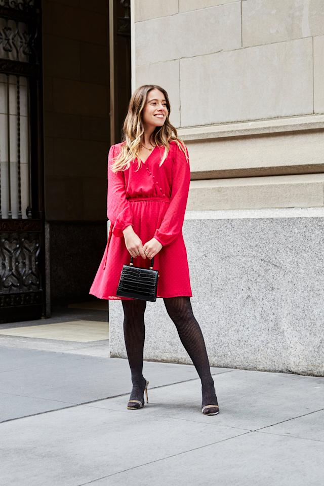 """<p>""""I love a modest silhouette in a splashy in color and this faux-wrap style hits in that perfect spot, right above the knee."""" - Sarah Wasilak </p>"""