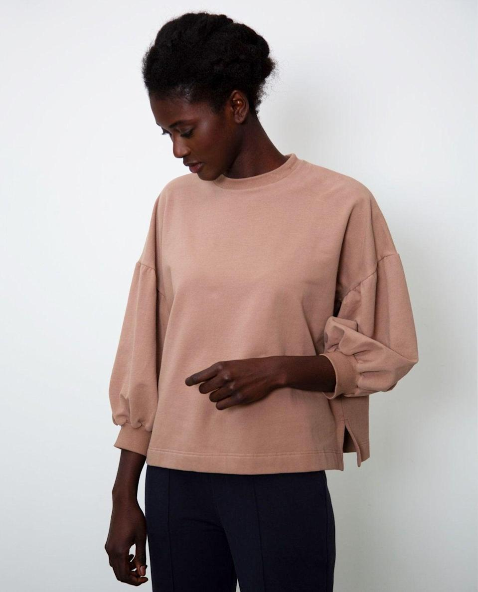 """<br><br><strong>Beaumont Organic</strong> Amelia Organic Cotton Top In Mocha, $, available at <a href=""""https://www.beaumontorganic.com/collections/clothing/products/aw20-amelia-organic-cotton-top-in-mocha"""" rel=""""nofollow noopener"""" target=""""_blank"""" data-ylk=""""slk:Beaumont Organic"""" class=""""link rapid-noclick-resp"""">Beaumont Organic</a>"""