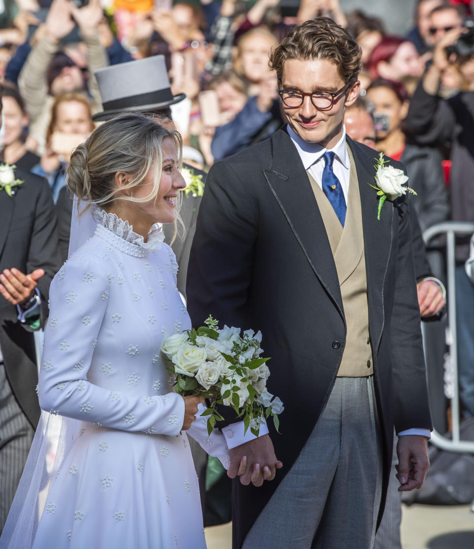 Newly married Ellie Goulding and Caspar Jopling leave York Minster after their wedding. (Photo by Danny Lawson/PA Images via Getty Images)