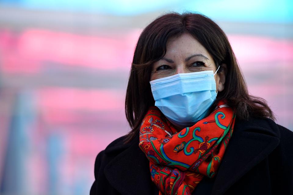 Mayor of Paris Anne Hidalgo, wearing a protective face mask, smiles before a meeting with students on the Artem campus as part of a visit on the theme of health and solidarity, in Nancy, eastern France, on February 19, 2021. (Photo by JEAN-CHRISTOPHE VERHAEGEN / AFP) (Photo by JEAN-CHRISTOPHE VERHAEGEN/AFP via Getty Images)