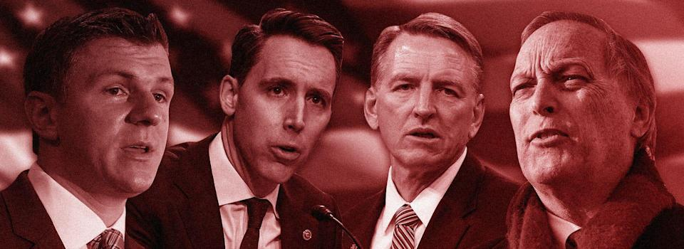Four speakers slated to speak at this year's Conservative Political Action Conference in Orlando, Florida. From left to right: James O'Keefe, founder of Project Veritas; Sen. Josh Hawley (R-Mo.); Rep. Paul Gosar (R-Ariz.); and Rep. Andy Biggs (R-Ariz.). (Photo: ILLUSTRATION: ISABELLA CARAPELLA/ HUFFPOST; PHOTOS: GETTY IMAGES)