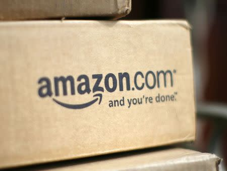 A box from Amazon.com is pictured on the porch of a house in Golden, Colorado