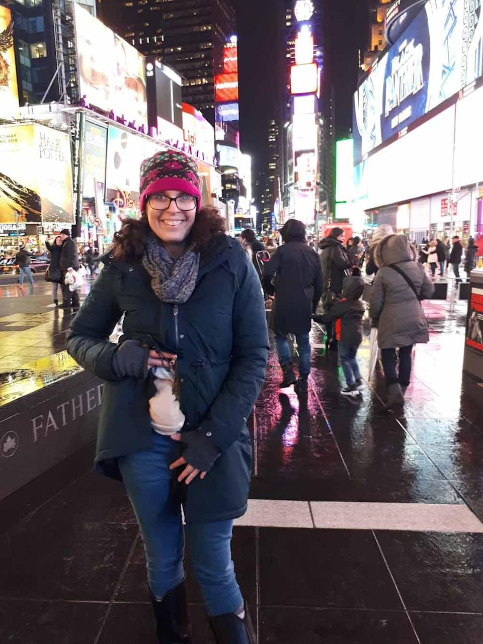 Laura in Times Square, New York City. PA REAL LIFE COLLECT