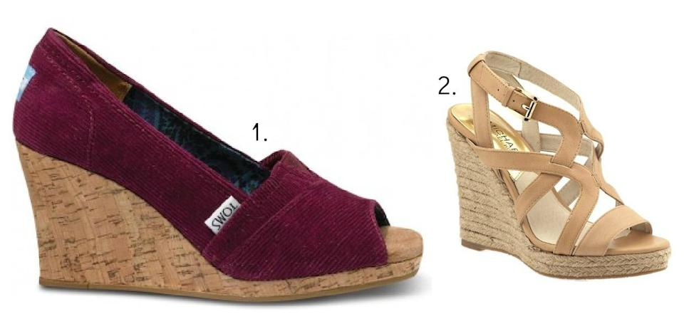 """<div class=""""caption-title"""">Comfy Wedges</div>And last but not least, you need a comfortable shoe that fills that void between casual and dressy. For those days when you want something a little fancier than flats, yet you just can't walk around in heels all day. And that's where wedge heels come in. (Photo by TOMS; Michael Kors)"""