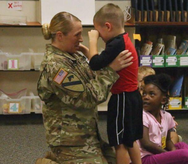 PHOTO: Her son, Daxton, cried tears of joy when his mother walked into his classroom. (Midway ISD)