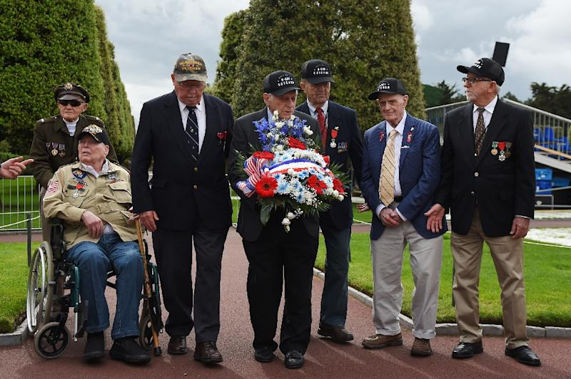 The US veterans attended a ceremony at the American Cemetery in Colleville-sur-Mer, northwestern France (AFP Photo/GUILLAUME SOUVANT)
