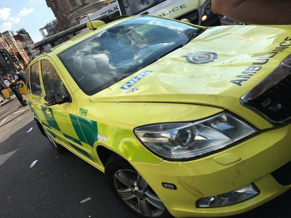 A London Ambulance Service car was left damage by vandals following England's World Cup win against Sweden (Picture: PA)