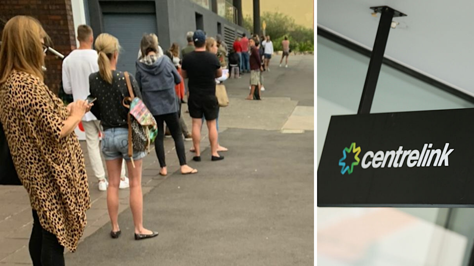 Hours-long queues at Centrelink. Source: ASXLong/Short, Getty