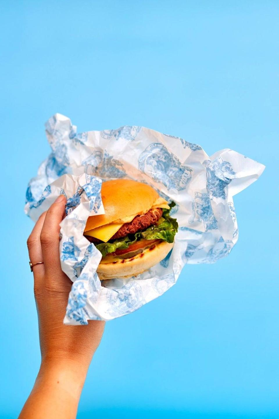 Leon's LOVe burger, one of the chain's 'carbon neutral' burgers (Leon)