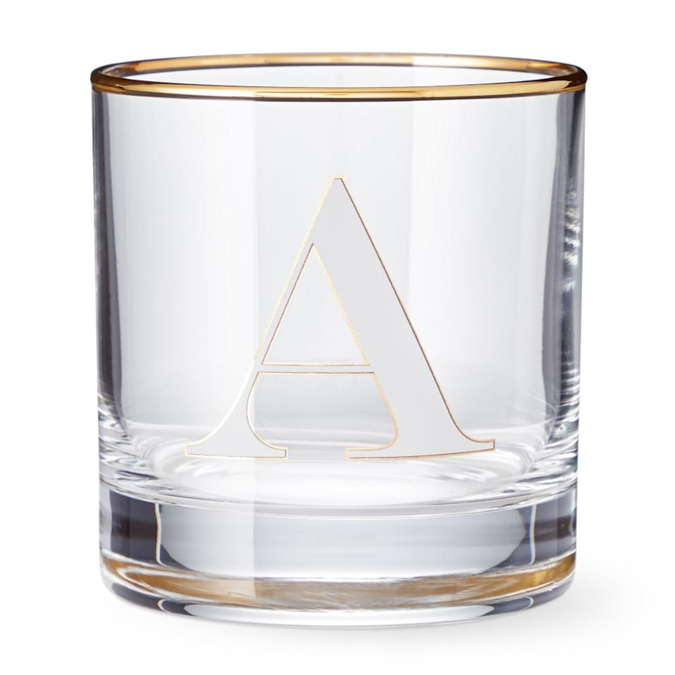 Williams Sonoma monogramed old-fashioned glass