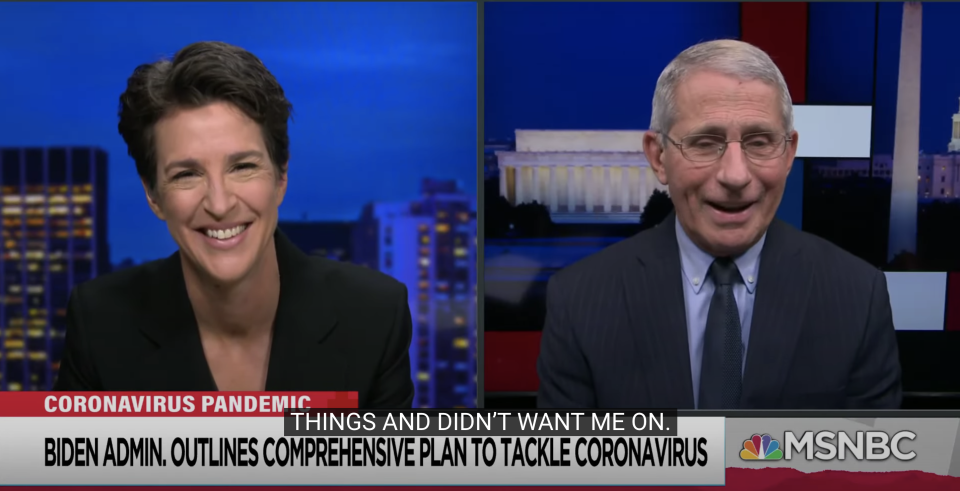 Dr. Anthony Fauci told MSNBC host Rachel Maddow that he was restricted from appearing on her television show during the Trump administration. (Screenshot: YouTube/MSNBC)