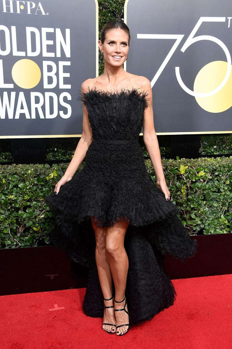 Heidi arrived at the Golden Globes on Sunday night in this stunning black dress. Photo: Getty Images