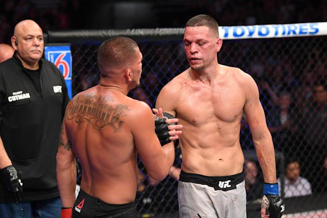 Nate Diaz (R), shown here with Anthony Pettis after their fight in August, will be allowed to fight at UFC 244, and the UFC's anti-doping program worked the way it should. (Josh Hedges/Getty Images)