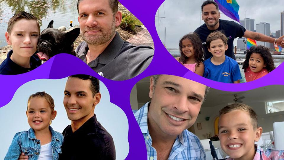 Single dads Len Evans, José Rolón, Bret Hunter, and Phelan Dante Fitzpatrick (clockwise from top left) share what they've learned about the journey of fatherhood. (All photos are courtesy)