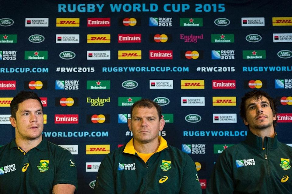 (From L) South Africa's Francois Louw, assistant coach Pieter de Villiers and Eben Etzebeth address a press conference at the Hilton Hotel in Newcastle, on September 29, 2015, during the Rugby World Cup (AFP Photo/Lionel Bonaventure)