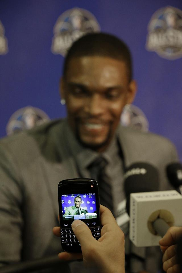 The Miami Heat Chris Bosch speaks during the NBA All Star basketball news conference, Friday, Feb. 14, 2014, in New Orleans. The 63rd annual NBA All Star game will be played Sunday in New Orleans. (AP Photo/Gerald Herbert)