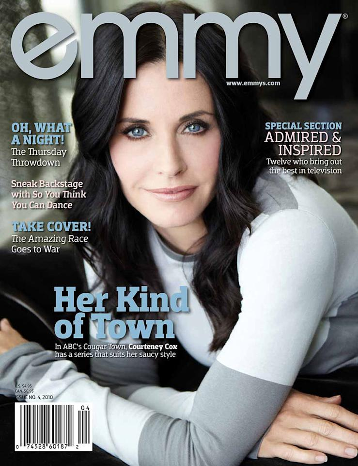 """""""<a href=""""/cougar-town/show/44787"""">Cougar Town</a>"""" star Courteney Cox appears on the cover of Emmy magazine's latest issue, on newsstands now. Click through this slideshow to see all of Cox's photos inside the magazine and what she had to share. <a href=""""http://twitter.com/home/?status=Photos: Courteney Cox in Emmy magazine (via @YahooTV) http://yhoo.it/9LBXKg"""" rel=""""nofollow"""">[Share this slideshow on Twitter]</a>"""