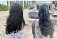 <p>The next day, I put the <span>Color Wow Dream Coat Supernatural Spray</span> ($28) to the test at the beach, where it was drizzling on and off. On the left is my second-day hair with the wind aggressively blowing it all over the place. There was no frizz, yet my hair still had volume and bounce. On the right, not only did my hair endure on and off drizzles but also, a good splash from a crystal blue wave. Usually, my hair would turn into a giant, frizzy poof, but now, it just became a wavier with no frizz whatsoever. I was so pleasantly shocked at the results.</p>