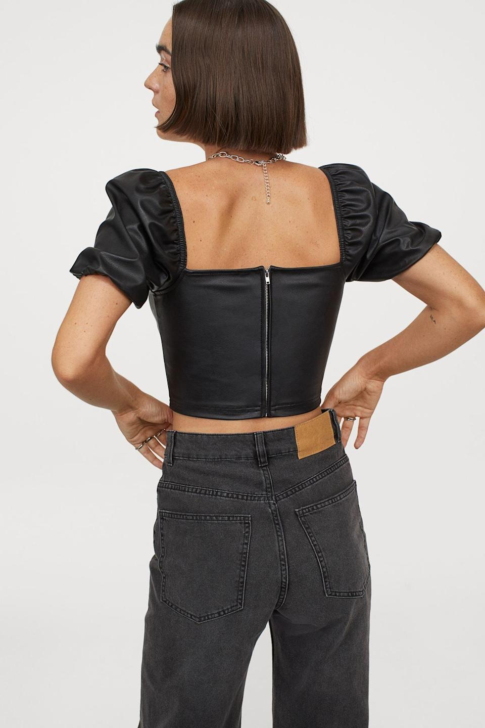 <p>Wearing this <span>Faux Leather Top</span> ($30) with denim jeans will create a nice contrast.</p>