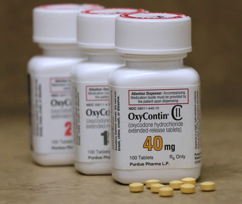 FILE PHOTO: Bottles of prescription painkiller OxyContin made by Purdue Pharma LP on a counter at a local pharmacy in Provo
