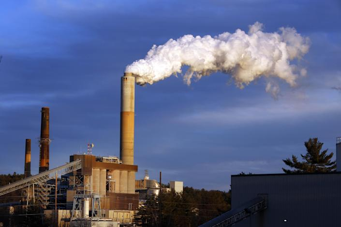 A plume of steam billows from a coal-fired power plant.