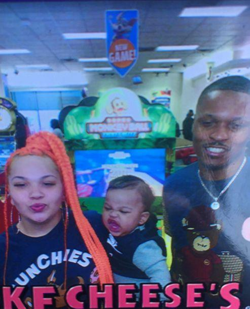 PHOTO: Rashad Cunningham and his girlfriend, Heather Fox, pose with their 1-year-old son at a Chuck E Cheese. (Heather Fox)