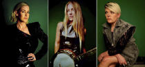 """This combination of self-portraits shows, from left, Martie Maguire, Emily Strayer and Natalie Maines, of The Chicks, who are promoting the release of their latest album """"Gaslighter."""" (Martie Maguire, from left, Emily Robison and Natalie Maines via AP)"""