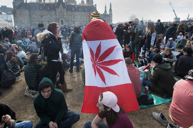 A man wears a Canadian maple leaf flag with marijuana leaf during the annual 4/20 rally in favor of marijuana legalization on Parliament Hill in Ottawa on April 20, 2018