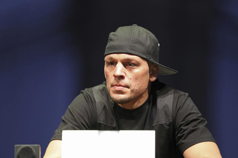 Nate Diaz is seen at a news conference for the UFC 244 mixed martial arts event, Thursday, Sept. 19, 2019, in New York. Masvidal is scheduled to fight Diaz Saturday, November 2 at Madison Square Garden. (AP Photo/Gregory Payan)
