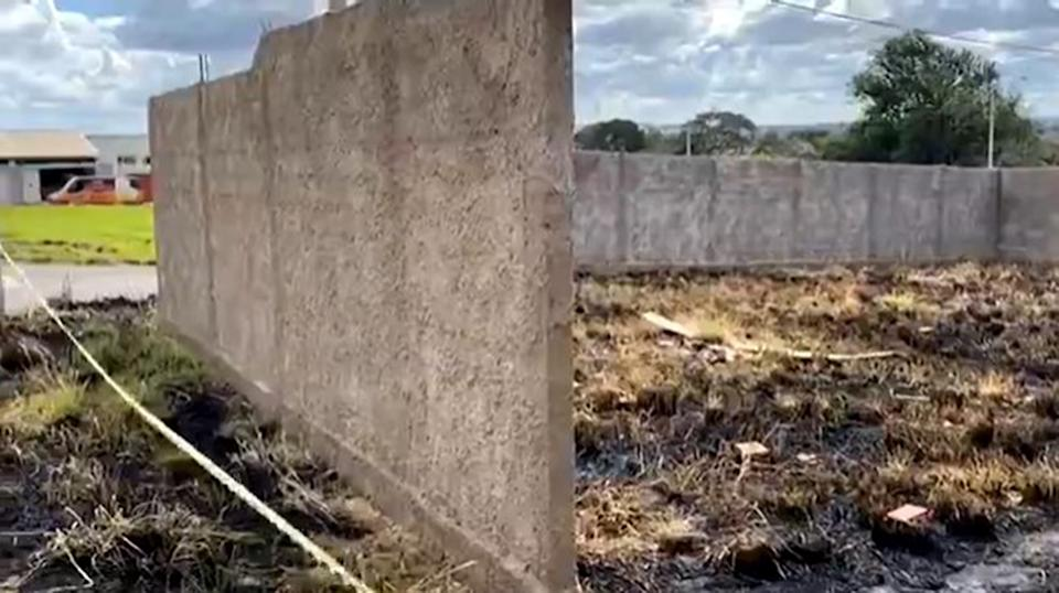 A cordoned-off wasteground where a baby's charred body was found in in Anapolis, Goias in Brazil.