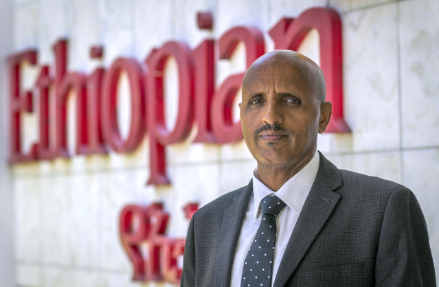 Tewolde Gebremariam, Chief Executive Officer of Ethiopian Airlines, poses for a photograph after speaking to The Associated Press at Bole International Airport in Addis Ababa, Ethiopia Saturday, March 23, 2019. The chief of Ethiopian Airlines says the warning and training requirements set for the now-grounded 737 Max aircraft may not have been enough following the Ethiopian Airlines plane crash that killed 157 people. (AP Photo/Mulugeta Ayene)