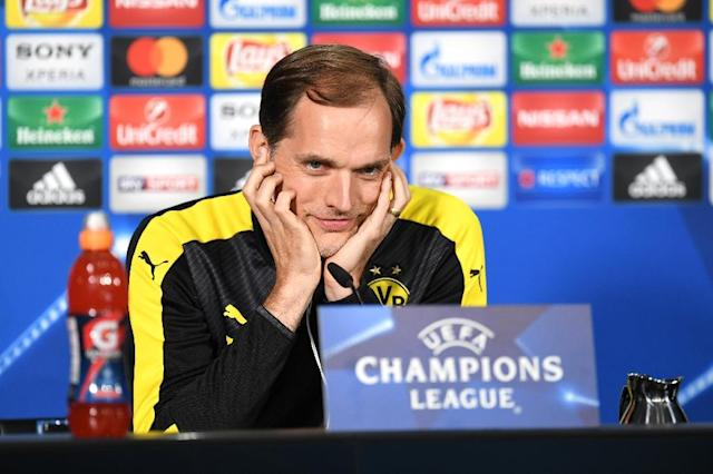 Dortmund's head coach Thomas Tuchel attends a press conference in Dortmund, western Germany on April 10, 2017 on the eve of their Champions League football match between against AS Monaco (AFP Photo/PATRIK STOLLARZ)