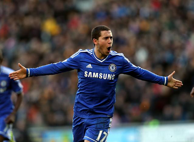 Chelsea's Eden Hazard celebrates his goal during their English Premier League soccer match against Hull City at the KC Stadium, Hull, England, Saturday, Jan. 11, 2014. (AP Photo/Scott Heppell)