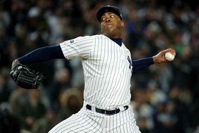 "<a class=""link rapid-noclick-resp"" href=""/mlb/players/8616/"" data-ylk=""slk:Aroldis Chapman"">Aroldis Chapman</a> has reportedly agreed to a new contract with the <a class=""link rapid-noclick-resp"" href=""/mlb/teams/ny-yankees/"" data-ylk=""slk:New York Yankees"">New York Yankees</a>. (Photo by Alex Trautwig/MLB Photos via Getty Images)"