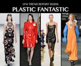<p>PVC culottes at Peter Pilotto, twist ties at Christopher Kane, it's all about plastic. We may no longer be allowed to carry bags in this evil material but you can tell your local PC police that you're recycling your bodega sac into a next season's it dress. Photo: IMAXtree</p>