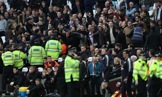 Police and West Ham fans at the London Stadium on Saturday, when events turned ugly.