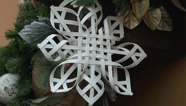 PHOTO: The artisans used a similar process they used to weave seats on homemade chairs to create the snowflakes. (Disney)