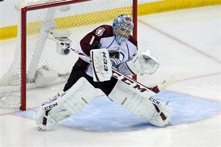 Apr 21, 2014; Saint Paul, MN, USA; Colorado Avalanche goalie Semyon Varlamov (1) makes a save during the third period against the Minnesota Wild in game three of the first round of the 2014 Stanley Cup Playoffs at Xcel Energy Center. Brace Hemmelgarn-USA TODAY Sports