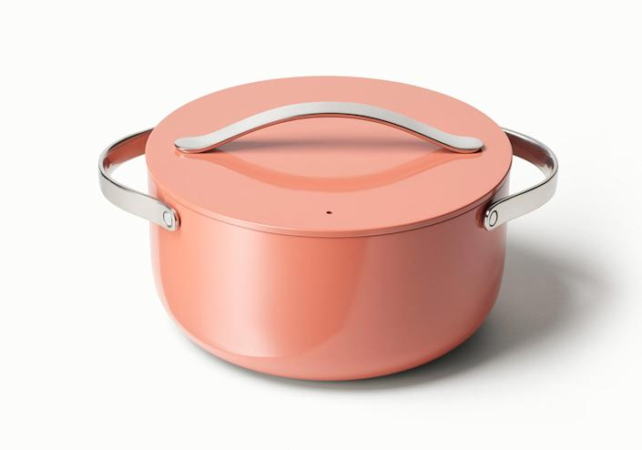 """<p>They look great on Instagram and work even better. The ceramic-coated pots and pans are shockingly nonstick — fried eggs slip out with only a little bit of oil — and heat evenly for quick, accurate cooking.</p> <p><strong>Buy it!</strong> $95 and up; <a href=""""https://www.anrdoezrs.net/links/8029122/type/dlg/sid/PEOIntroducingPEOPLEsProductsWorththeHypein2021khogan1271StyGal12821774202107I/https://www.crateandbarrel.com/caraway-cream-non-stick-ceramic-6.5-qt.-dutch-oven/s448576"""" rel=""""sponsored noopener"""" target=""""_blank"""" data-ylk=""""slk:crateandbarrel.com"""" class=""""link rapid-noclick-resp"""">crateandbarrel.com</a></p>"""