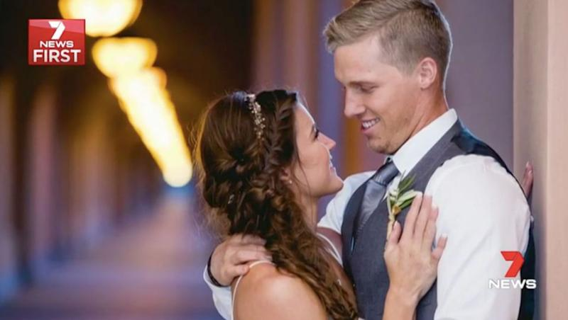 Knee braces helped Sam to stand during his wedding to fellow BMX rider Alise. Source: 7 News