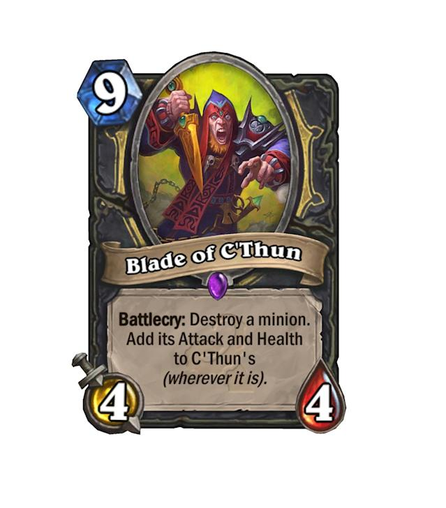 <p>Oddly enough, not a weapon. Only for the most committed of C'Thun enthusiasts, 9 mana is pretty steep for a 4/4. But if you pull off using the Blade to kill an enemy's bomb, things could get very entertaining.</p>